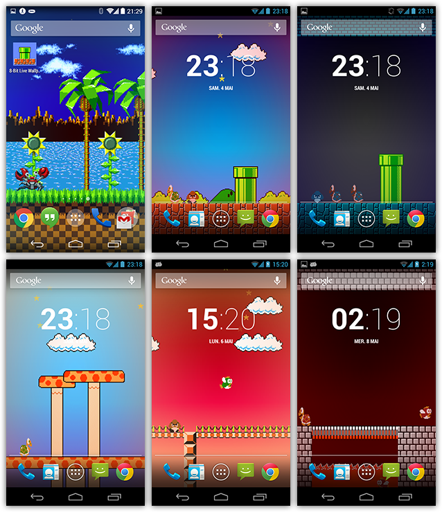 Theme 8 bit live wallpaper landscapes from popular retro games on android - Video game live wallpapers ...